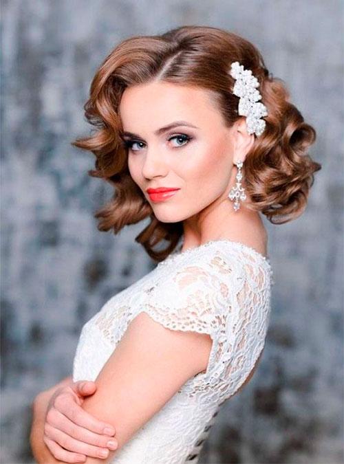 Варианты стрижек и причесок на средние волосы для невест